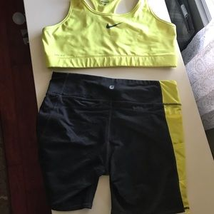 Nike Sports Bra XL and Medium shorts (not Nike)
